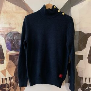 Scotch & Soda wool gold button mock neck sweater